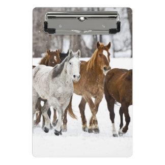 Mini Porte-bloc Un hiver pittoresque des chevaux courants 2