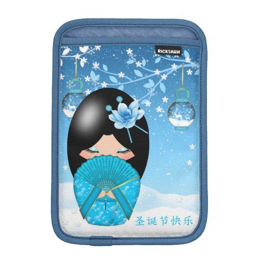 mini poupée de Noël de kokeshi de cas d'ipad Housse iPad Mini