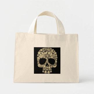 Mini sac fourre-tout à crâne floral vintage de