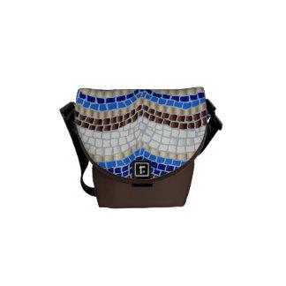 Mini sac messenger à mosaïque bleue besace