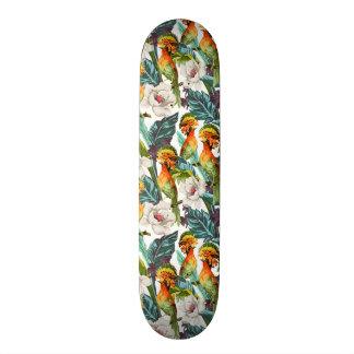 Mini Skateboard 18,4 Cm Oiseau et motif de fleur exotique