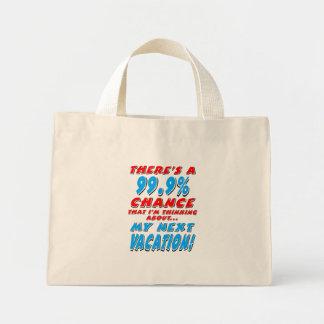 Mini Tote Bag 99,9% Les VACANCES PROCHAINES (noir)