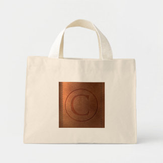 Mini Tote Bag alphabet cuir lettre C