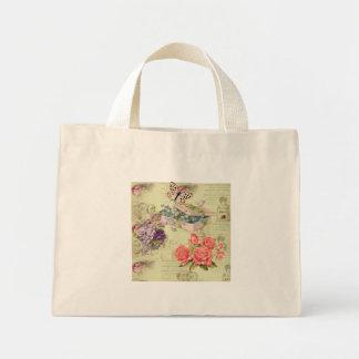 Mini Tote Bag Bourse vintage, fleurs, papillons, roses et petit