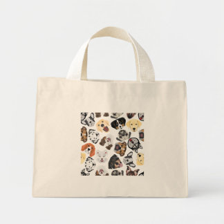 Mini Tote Bag Chiens de motif d'illustration