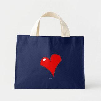 Mini Tote Bag Coeur rouge sur Girly mignon d'amusement