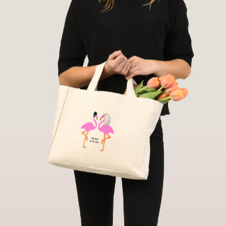 Mini Tote Bag Flamants roses mignons jeune mariée et mariage de