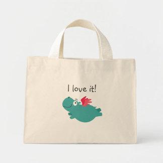 Mini Tote Bag Illustration d'hippopotame de vol