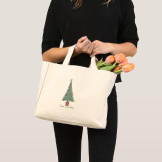 Mini Tote Bag L'arbre de Noël avec le rouge de décorations