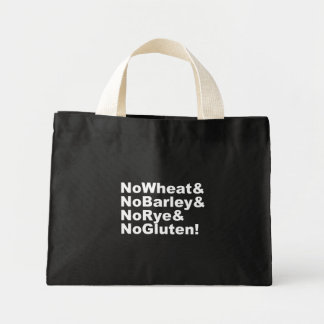 Mini Tote Bag NoWheat&NoBarley&NoRye&NoGluten ! (blanc)