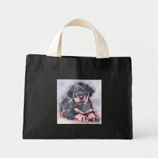 Mini Tote Bag Peinture de croquis de chiot de rottweiler