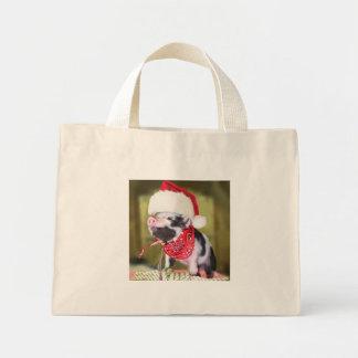Mini Tote Bag Porc le père noël - porc de Noël - porcelet