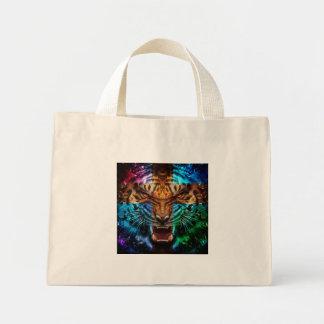 Mini Tote Bag Tigre croisé - tigre fâché - visage de tigre - le
