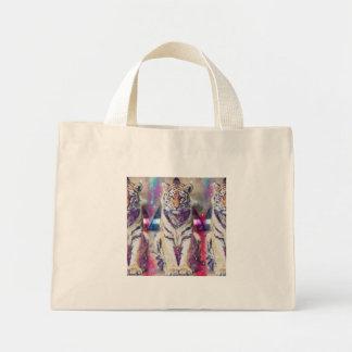 Mini Tote Bag Tigre de hippie - art de tigre - tigre de triangle