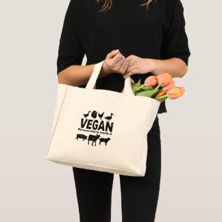 Mini Tote Bag VÉGÉTALIEN parce qu'ils le valent (le noir)