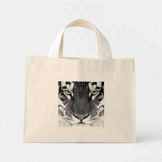 Mini Tote Bag Visage de tigre - tigre blanc - tigre de yeux -