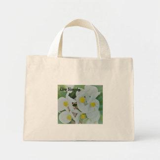 Mini Tote Bag Vivent l'orchidée simplement blanche fourre-tout