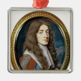 Miniature de James II en tant que duc de York, Ornement Carré Argenté