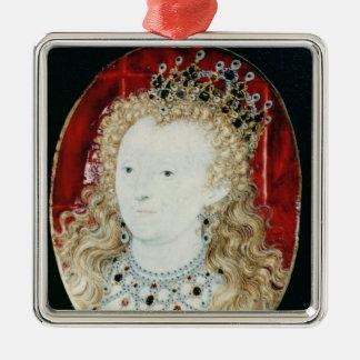 Miniature de la Reine Elizabeth I Ornement Carré Argenté