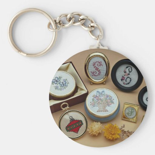 Miniatures brodées dans les cadres porte-clés