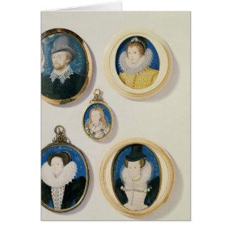Miniatures, de L à R, T à B : Homme avec une main Carte De Vœux