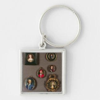 Miniatures de LtoR, TtoB : Frances Teresa Stuart, Porte-clé Carré Argenté