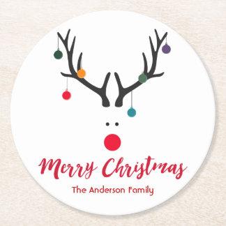 Minimaliste de Joyeux Noël et blanc mignon de Dessous-de-verre Rond En Papier