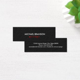 Minimaliste ROUGE noir simple moderne élégant Mini Carte De Visite