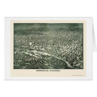 Minneapolis, carte panoramique de manganèse - 1879