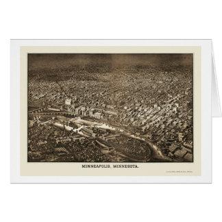 Minneapolis, carte panoramique de manganèse - 1885