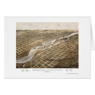 Minneapolis et St Anthony, carte panoramique de