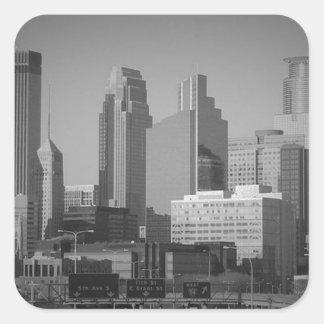 Minneapolis noir et blanc sticker carré