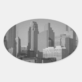 Minneapolis noir et blanc sticker ovale