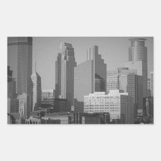 Minneapolis noir et blanc sticker rectangulaire