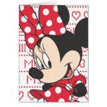 Minnie rouge et blanc 3 carte de vœux