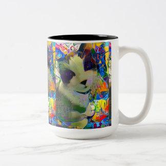 minou d'art de rue de raquette tasse 2 couleurs
