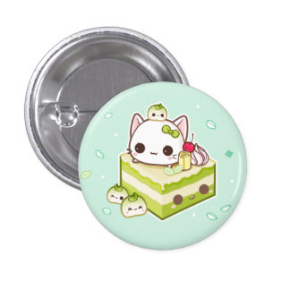 Minou mignon de mochi avec le gâteau de thé vert badge