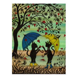 Minous dans l'amour, une douche de pluie de carte carte postale
