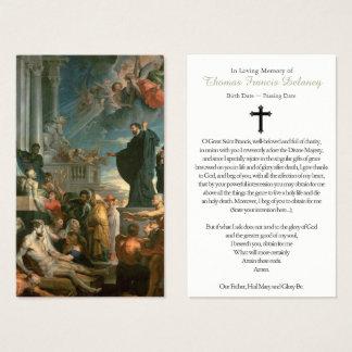 Miracles funèbres de carte de prière du St Francis