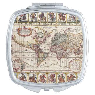 Miroir Compact 1652 carte du monde, carte du monde d'atlas de mer