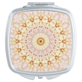 Miroir Compact Art floral rose-clair et jaune de mandala