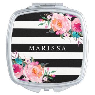 Miroir compact blanc de noir floral rose