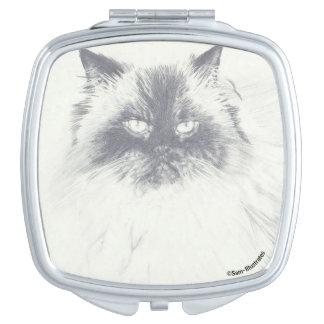 Miroir compact carré de chat