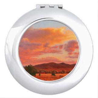 Miroir Compact Coucher du soleil rose et orange avec le miroir