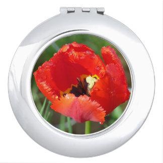 Miroir compact de dames avec la fleur rouge simple