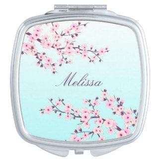 Miroir compact de fleurs de cerisier florales