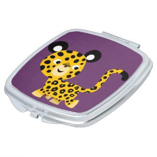 Miroir compact de sourire de léopard de bande dess