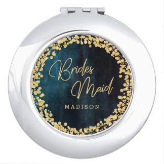 Miroir Compact Demoiselle d'honneur bleue turquoise de mariage