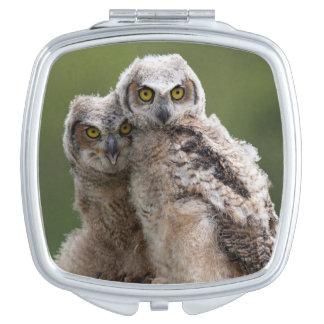Miroir Compact Deux grands hiboux à cornes de bébé