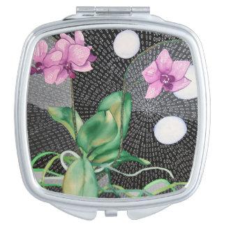 Miroir compact d'orchidée
